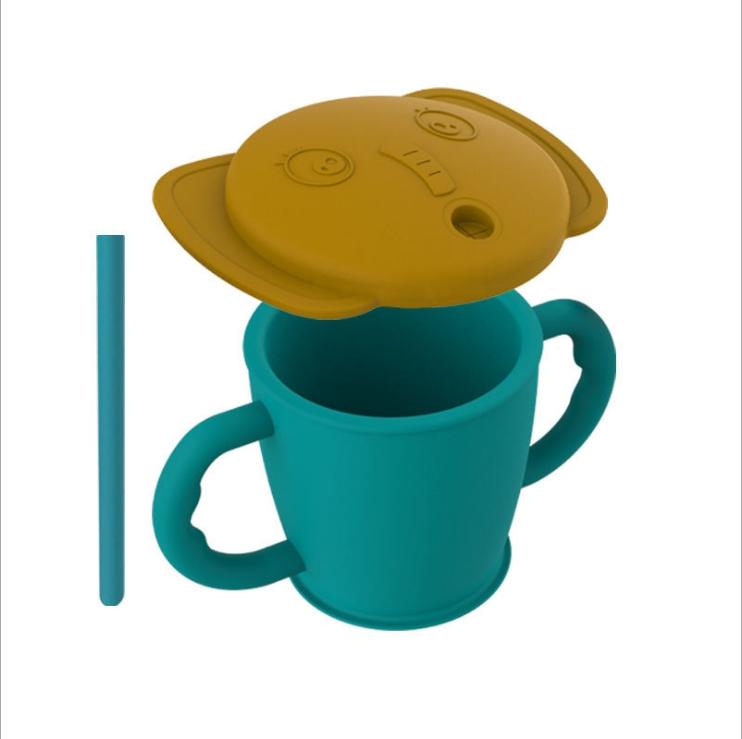 食品级硅胶水杯卡通杯儿童双耳学饮杯