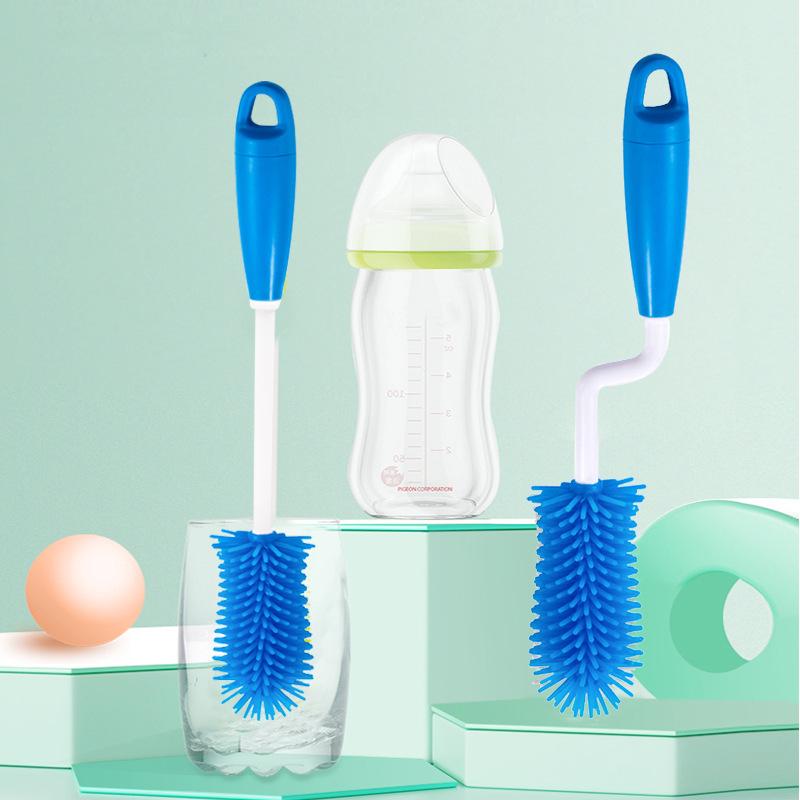 新款硅胶奶瓶刷360度旋转多功能婴儿奶瓶刷长柄清洁奶瓶刷