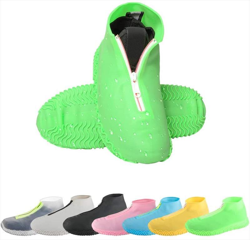 可重复使用容易穿上和脱下防滑硅胶雨鞋保护盖与拉链雨天