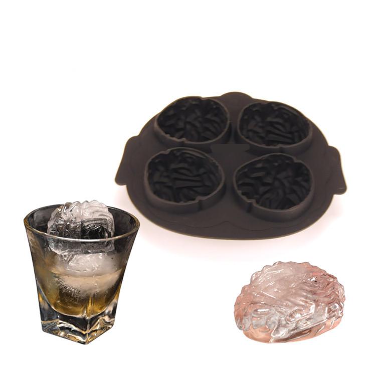 中国热销产品 4 容量食品级硅胶冰模脑形状冰立方模具