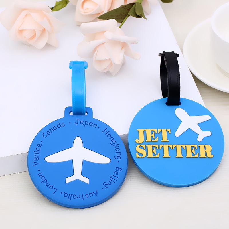 新款个性多种行李卡通飞机行李牌挂饰硅胶圆形卡通行李牌批发