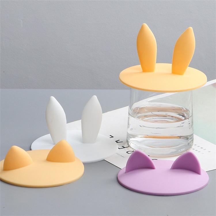 新品创意猫耳朵硅胶保温杯盖兔耳朵系列盖子纯色