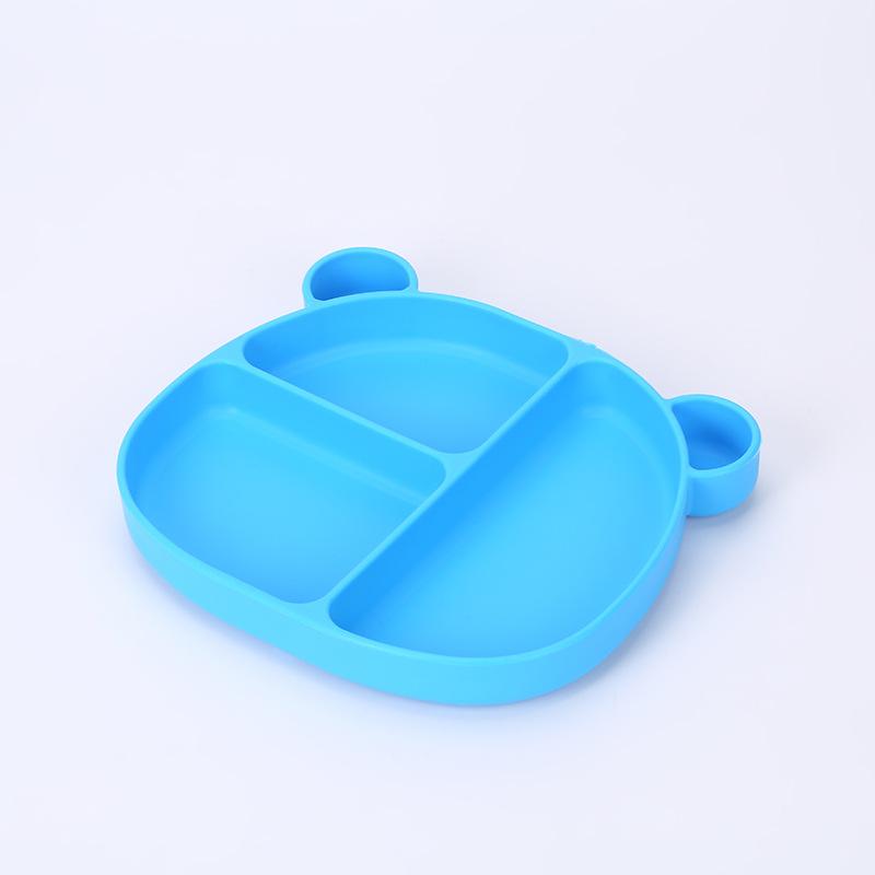 2021新款创意小熊儿童硅胶餐盘宝宝防摔防滑分餐硅胶辅食吸盘碗