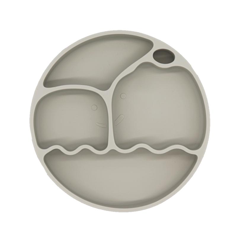 天青灰婴儿硅胶餐盘